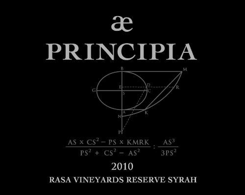 "2010 Rasa Vineyards ""Principia"" Reserve Syrah 750 Ml"