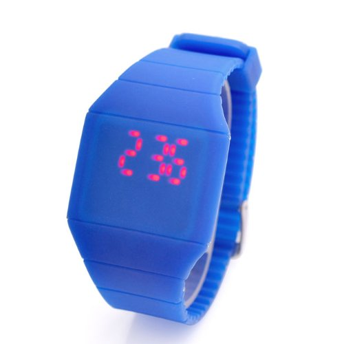 Jovivi Screen Led Digital Silicone Ultra-Thin Touch Sport Watch (Blue)