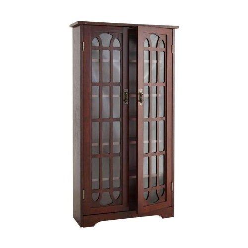SEI Window Pane Wood Media Cabinet, Cherry