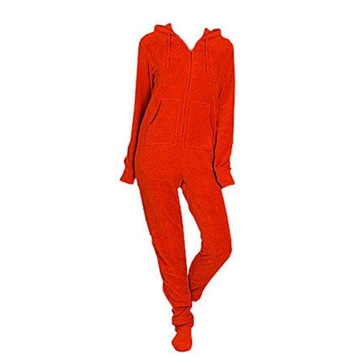 Red Plush Adult Hooded Onesie (Medium) front-829405