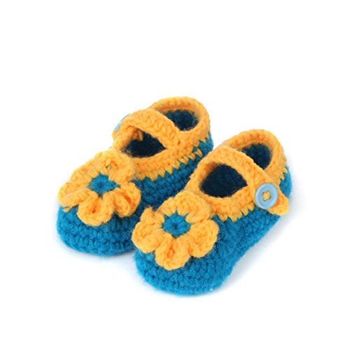 Soyagift Baby Hand knitted Sunflower with Buckle, wool soft-soled Shooes