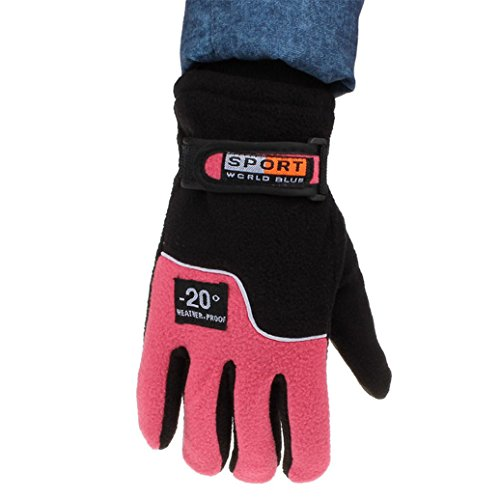 Fineshow Womens Windproof Thermal Winter Motorcycle Ski Snow Driving Gloves (Hot Pink)