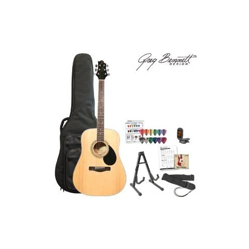 Greg Bennett JF-GD100SPK-NAT-KIT-1 Natural Dreadnought Acoustic Guitar with Gig Bag, Chord Chart, Tuner, DVD,... sale