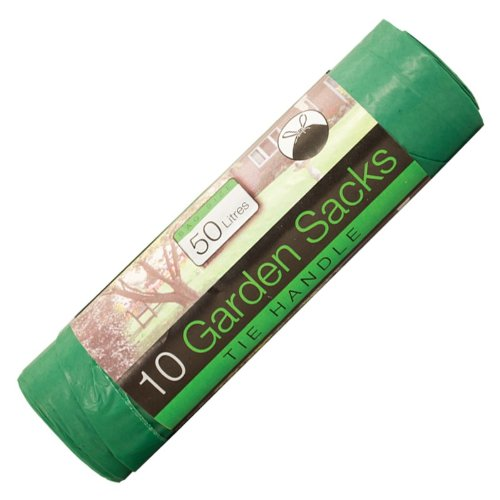Garden Rubbish Bags - Green Heavy Duty 50 litres x 10 pack - 89cm Extra Stong Bin Sacks With Tie Handles