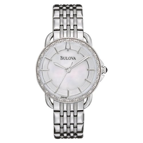 Bulova 96R146 Ladies Diamonds Silver White Watch