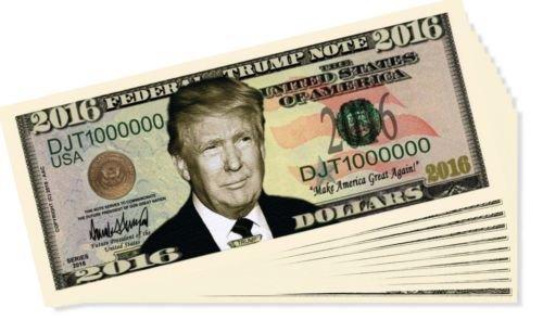 5 Factory Fresh Novelty Donald Trump 2016 Presidential Dollar Bills + Bonus Bill (Unusual License Plate Frames compare prices)