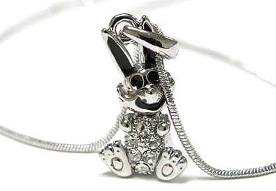 Beautiful Ice Crystal Bunny Sit Charm Necklace Silver Tone with Black Epoxy Accents
