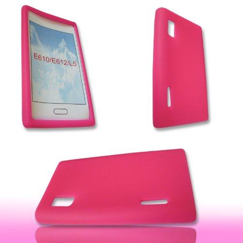 Original Handycop® SILIKON Case PINK für LG E610 Optimus L5 - Tasche Silicon Schutz Schutzhülle Hülle Sleeve Rosa