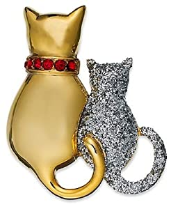 Macy's Holiday Lane Charter Club Brooch, Gold & Silver Glitter Cat Duo Pin