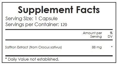 Saffron Extract- Appetite Suppressant - 100% Pure Premium Saffron Extract - 88 Mg - 120 Capsules - 120 Servings Per Bottle