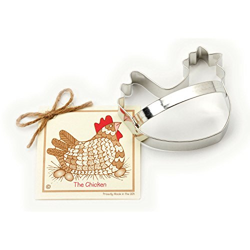 Chicken Cookie and Fondant Cutter - Ann Clark - 4.5 Inches - US Tin Plated Steel