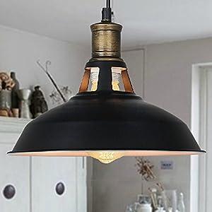 Buyee Vintage Industrial Edison Ceiling Light 1 Light Iron Body Metal Shade Loft Coffee Bar Kitchen Hanging Pendant Llight Lamp Shade Black by Shenzhen Buyee Trading Co.,Ltd