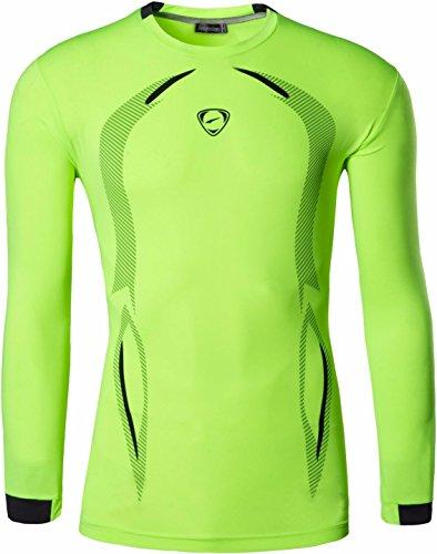 jeansian Uomo Moda Formazione Manica Lunga Sportivo Casuale Palestra Fashion Tee T-Shirts Camicie LA184 GreenYellow S
