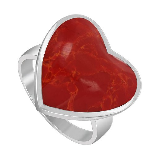 Sterling Silver 20mm x 19mm Heart Simulated Coral 2mm Band Ring