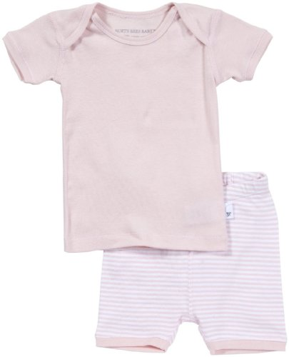 Burt's Bees Baby Baby Girls' Essentials Solid Tee/Striped Shorts (Baby)-Blossom