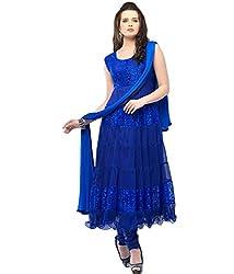 KD Enterprise Women's Soft Net Blue Anarkali Dress