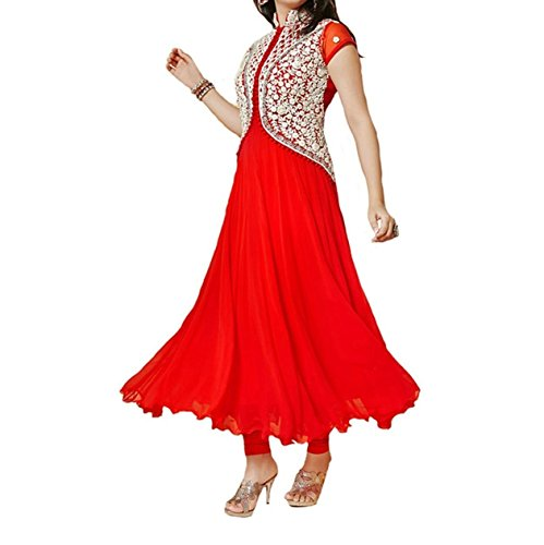 Woman style woman\'s Designer red Color Embroidery Gorgette Semi-Stitched Anarkali Dress (CC2528_FreeSize_red)