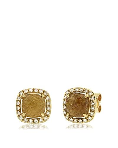 Shy Creation Golden Line Quartz & Diamond Stud Earrings