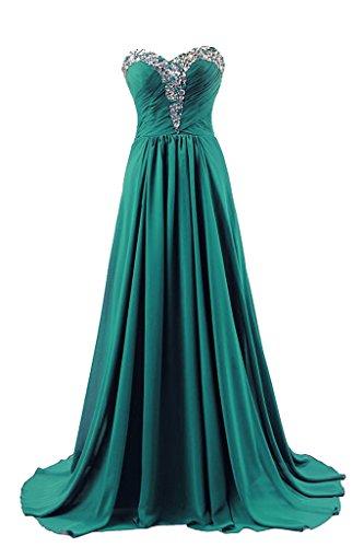 RohmBridal Women's Sweep Train Beaded Chiffon Formal Prom Dress Emerald 28