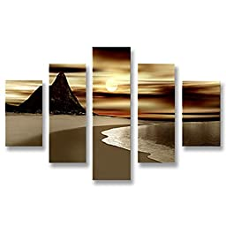 Neron Art - Handpainted Landscape Oil Painting on Gallery Wrapped Canvas Group of 5 pieces - Ashfield 40X32 inch (102X81 cm)