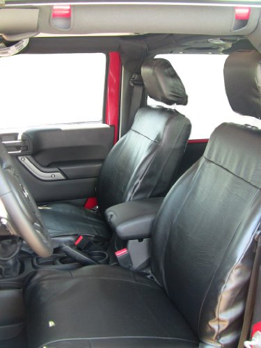 Exact Seat Covers, J1644 L1, 2011 Jeep Wrangler 2 Door Model Front Bucket Seats Without Height Lever Custom Exact Fit Seat Covers, Black Leatherette