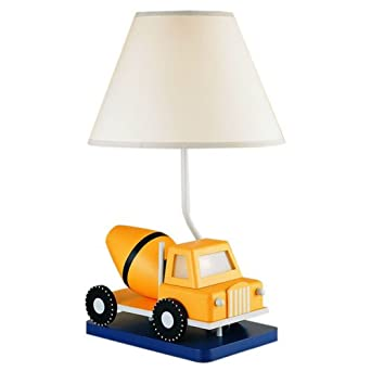 Childrens Novelty Lamp Shades : Cal Lighting BO-5665 Kids Novelty Lamp with White Fabric Shades, Yellow Cement Truck in White ...