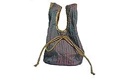 Geroo Grey silk pintuck potli bag with sequins work