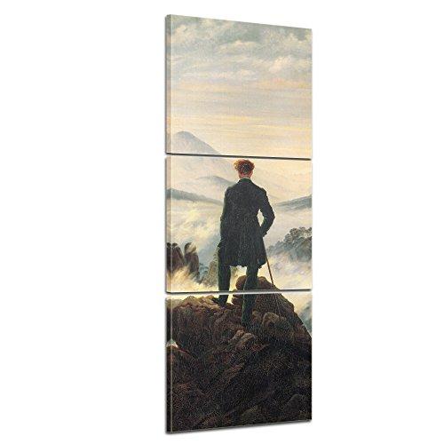 """Bilderdepot24 tela di canapa Panorama Caspar David Friedrich - Antichi Maestri """"Viandante sul mare di nebbia"""" 40x120cm 3tlg. - Completamente incorniciato, direttamente dal produttore"""