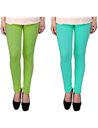 Snoogg Womens Ethnic Chic Inspired Churidar Leggings In Light Green And Sky Blue