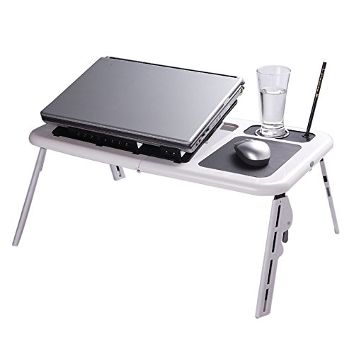 Folding Laptop Desk Adjustable USB Notebook PC Table Stand Flexible with 2 Cooling Fans