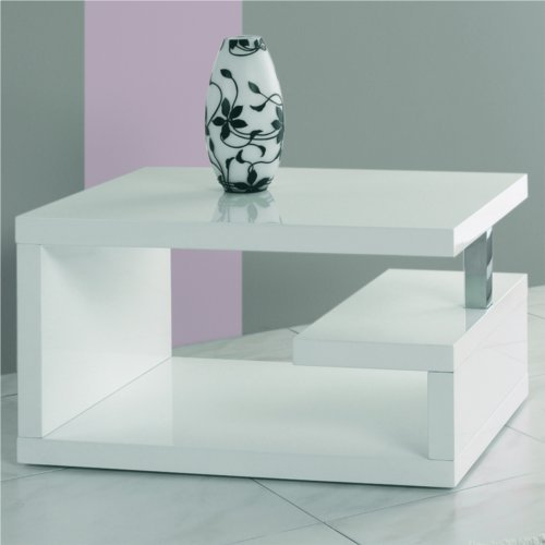 DESIGN TABLE GENIUS retro lounge side rack coffee table white