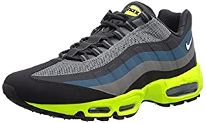 Nike Men's Air Max 95 No-Sew Medium Base Grey/White/Base Grey/Volt 7.5