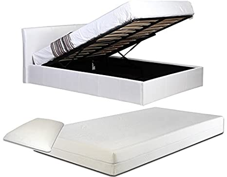 3ft Single White Ottoman Lift Up Storage Faux Leather Bed + 8 Inch Deep Memory Foam Mattress + FREE Memory Foam Pillow - Also available in Black or Brown - Master Bedroom Childrens Bedroom Teens Bedroom Guest Bedroom - Perfect for storing Shoes DVD's Bedd