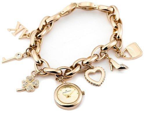 AK Anne Klein Women's  10-7604CHRM Swarovski® Crystal Gold-Tone Charm Bracelet Watch