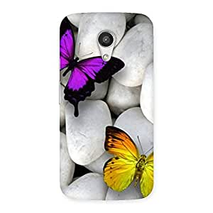 Special Butterflies white stones Back Case Cover for Moto G 2nd Gen