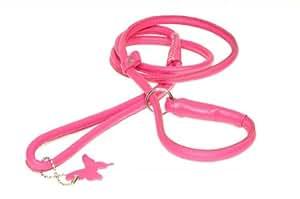 Dogline Rolled Leather Dog Slip Lead, 3/8-inch x 53-inch/ 1.35 m, Pink
