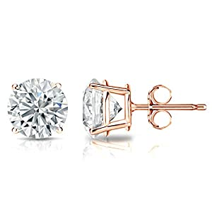 GIA Certified 14k Rose Gold Round Diamond Stud Earrings 4-Prong (1 cttw, K-L Color, I1-I2 Clarity)