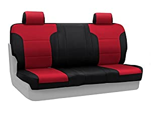Coverking Custom Fit Rear Solid Back Seat Cover for Select GMC Sierra 2500 HD/3500/3500 HD Models - Neosupreme 2-Tone (Red with Black Sides)