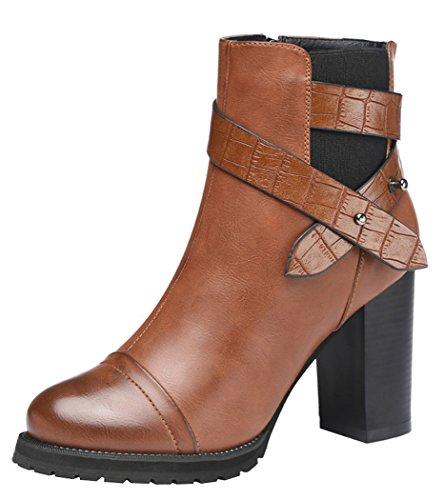Guciheaven Women New Style Buckle Martin Short Boots(8 B(M)Us, Tan)