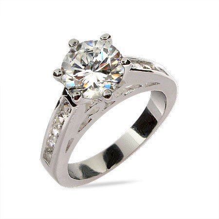Radiant Sterling Silver CZ Engagement Ring Size 6 (Sizes 6 7 8 Available)