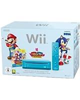 Console Wii bleue + Mario & Sonic aux Jeux Olympiques de Londres 2012 + Télécommande Wii Plus - bleu