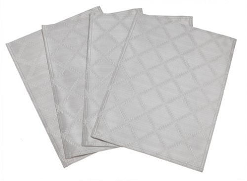 Lenox Platinum Laurel Leaf Cotton Damask Placemats - Set a subtle yet elegant holiday table with these textured solid woven damask placemats! | http://christmastablescapedecor.com/elegant-silver-table-setting/