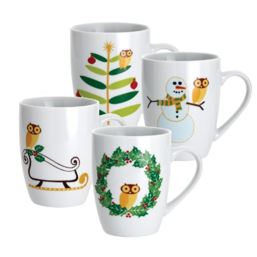 Rachael Ray Dinnerware Holiday Hoot 4-Piece Mug