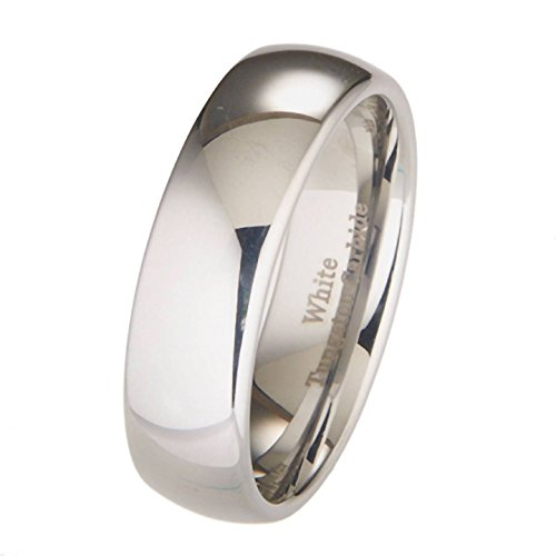 White Tungsten Carbide 7Mm Polished Classic Wedding Ring Band (6)