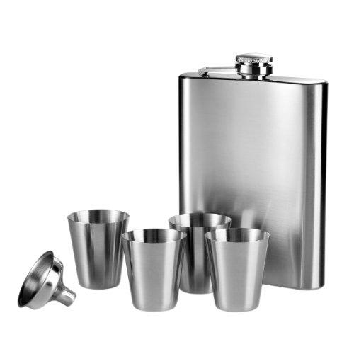 Premier Housewares 0508270 Flachmann Set 8 Unzen-Flasche 4 Tassen Trichter, edelstahl