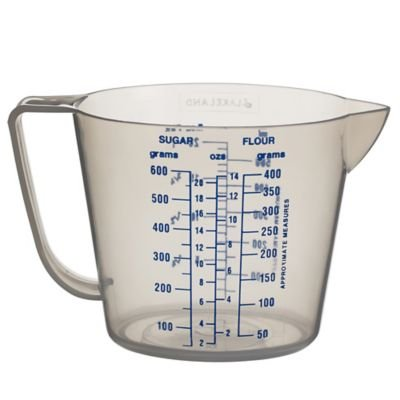 Lakeland - Contenitore in plastica trasparente, a forma di caraffa graduata da cucina con manico, contiene fino a 500 ml