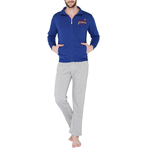 Valentine-Mens-Casual-V-Neck-Blue-Color-Top-Pyjama-Set