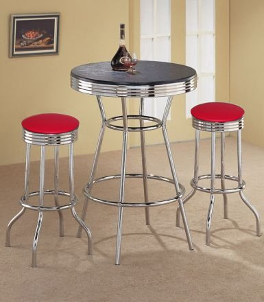 2 Red Vinyl Barstools and Black Table Set