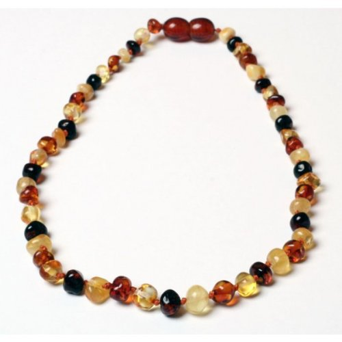 *Safety Clasp & Safety Knotted* Bouncy Baby Boutique(Tm) - Certified Authentic Baltic Amber Teething Necklace - N52 Multicolor