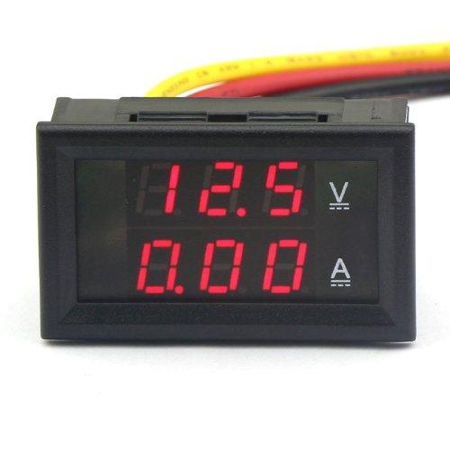 Drok 3-Wires Dc 4.5-30V/2A 12V Digital Voltmeter Ammeter 2In1 Red Led Volt Amp Meter Gauge